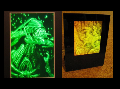 Alien Queen Sci-Fi Movie Art (Framed) & 3D Prehistoric T-Rex Dinosaur Polaroid Photopolymer Film Hologram Deskstand - 2 Piece Set