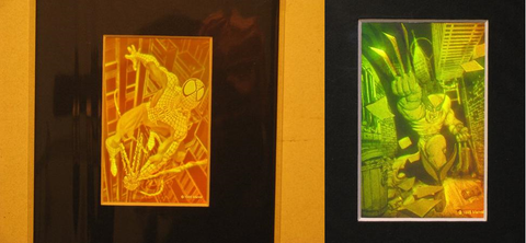 3D Spiderman & Wolverine Matted Polaroid Photopolymer Film Hologram Pictures, 2 Piece Set