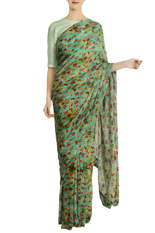 Aqua Chiffon Silk Floral Sari with Unstitched Blouse