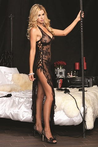 Rose Lace High Slit Gown and G-String - One Size - Black LA-88009BLK