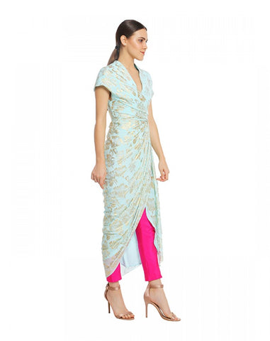 Ice Blue Dry Flower Wrap Dress With Fuchsia Pencil Pants