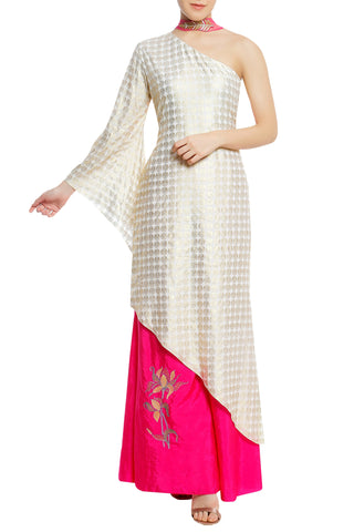 Coin Print Kurta with Embroidered Palazzo & Choker Dupatta