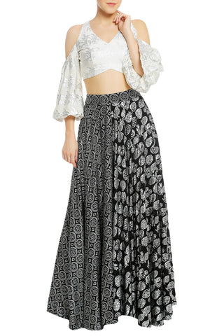 Printed Lehenga with Cold Shoulder Blouse