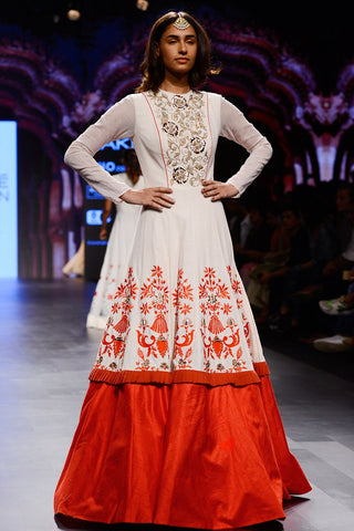 Ivory Zardosi And Embroidered Gown