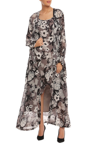 Black and Grey Printed Dress with Jacket