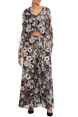 Black and Grey Printed Cape Top with Pants
