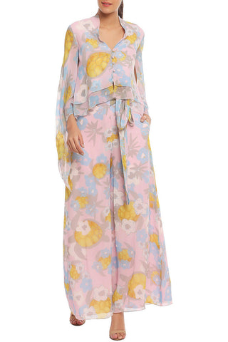 Pale Pink Printed Cape Top with Pants