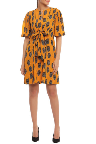 Yellow Printed Tie up Dress