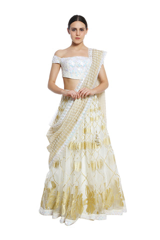 d6ae529de3 Ivory Corn Stamp & Dry Flower Grid Lehenga Set. Sold Out. Quick View. Masaba  Gupta