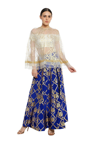 10433b35b1 Off Shoulder Blouse with Embrodiered Cape & Lehenga. Quick View. Masaba  Gupta