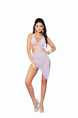 Lace Asymmetrical Gown and Matching G - String - One Size - Lilac EM-88037