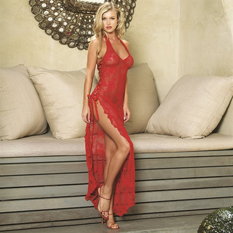 Rose Lace High Slit Gown and G-String - One Size - Red LA-88009RED