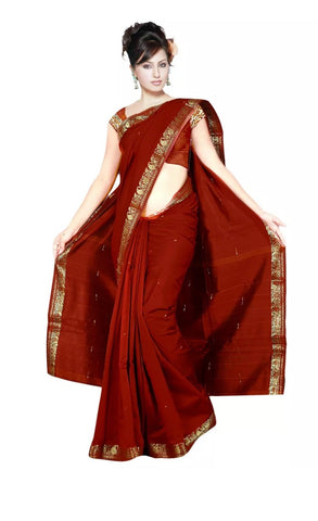 Maroon Wine Dark Red Sari Saree Traditional Art Silk Curtain Drape Craft Fabric Authentic Indian Dress Gown