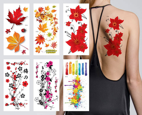 edc2fa2d33c0f Sale Supperb® Flower & Autumn Leaves Temporary Tattoos / Gorgeous Color Set  of 6