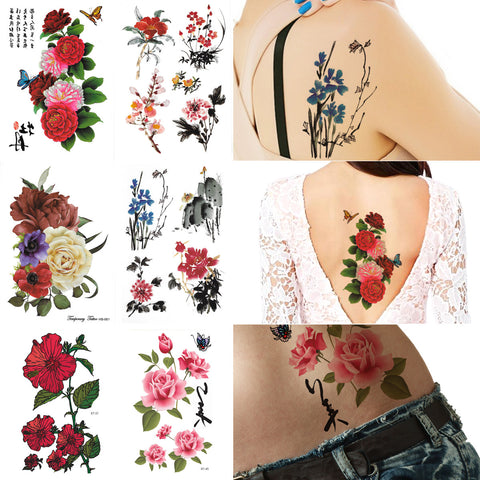 5d251e53e7091 Sale Sold Out Supperb® 6-pack Large Flower Floral Painting Temporary Tattoos