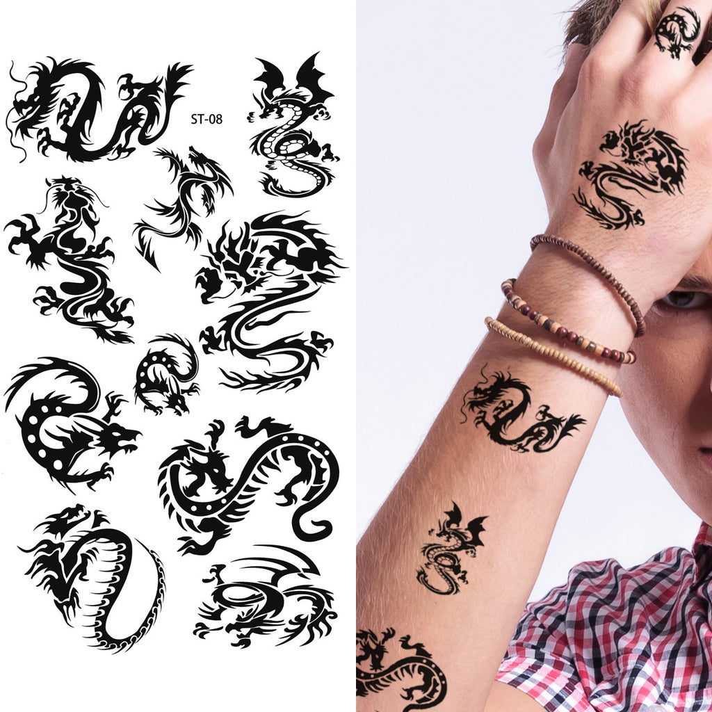 Supperb Lower Back Shoulder Neck Arm Temporary Tattoos Small Dragons