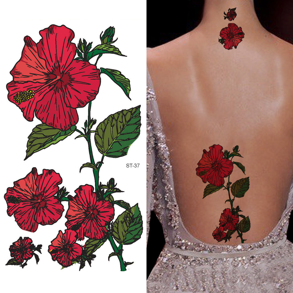 Supperb Temporary Tattoos Morning Glory Red Flower Rose Tattoo Body Art Tattoos