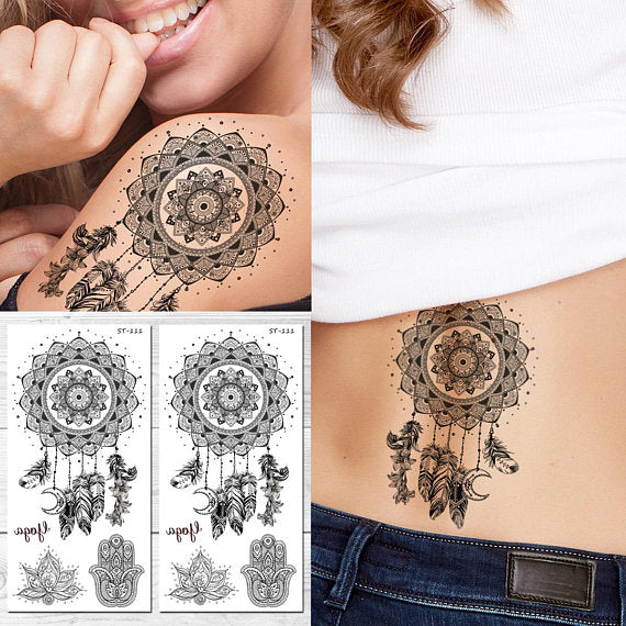 Supperb Temporary Tattoos Black White Dream Catcher Dreamcatcher Colorful Feather Bohemian Tattoo Set Of 2
