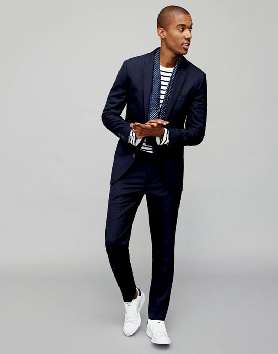 How to wear white sneakers with a suit
