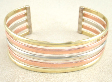 Copper, Brass, Silver colored Cuff Bracelet