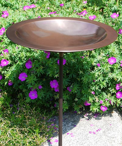 Classic Bird Bath and Stake, Copper