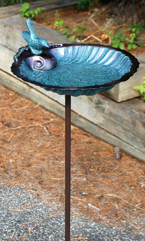 Scallop Shell Bird Bath and Stake, Verdigris