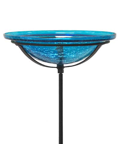 Crackle Glass Bird Bath Bowl w/ Cradle & Stake, Teal
