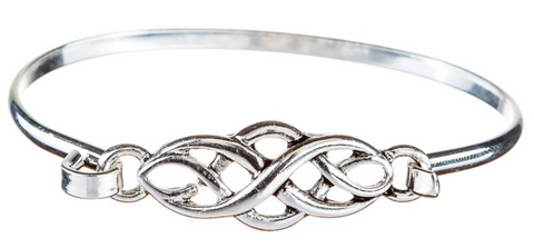 Silver Celtic Swirl Hook Bangle Bracelet