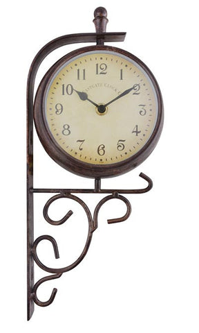 Esschert Design Double Sided Scrolling Clock and Thermometer