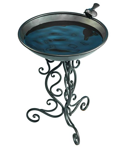 Ornate Metal Bird Bath and Stand