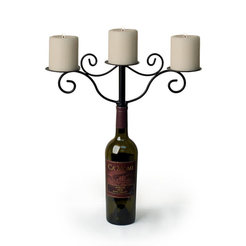 WROUGHT IRON WINEBOTTLE 3-CANDLE CHANDELIER