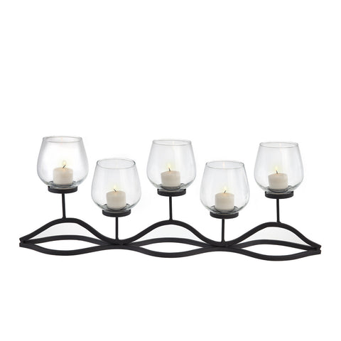 KF829 WAVY IRON AND GLASS HURRICANE CANDLEHOLDER