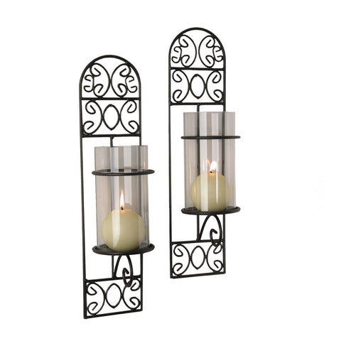 QBA568 METAL FILIGREE MADEIRA WALL SCONCES (SET OF 2)