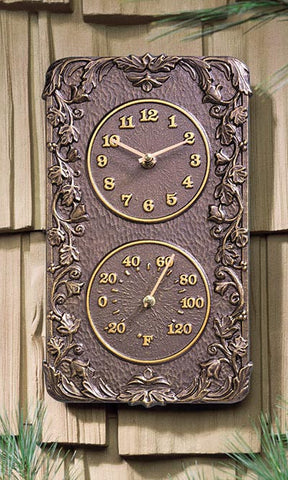 Acanthus Clock & Thermometer, French Bronze, 13.5""