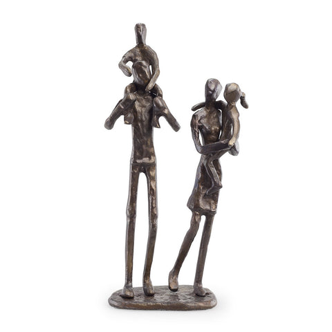 FAMILY OF 4 - PARENTS CARRYING CHILDREN BRONZE SCULPTURE
