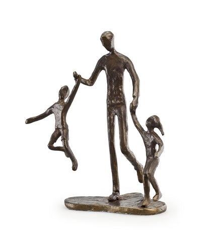 FATHER WITH TWO CHILDREN BRONZE SCULPTURE