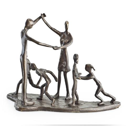 FAMILY OF 6 BRONZE CHILDREN & PARENTS AT PLAY BRONZE SCULPTURE