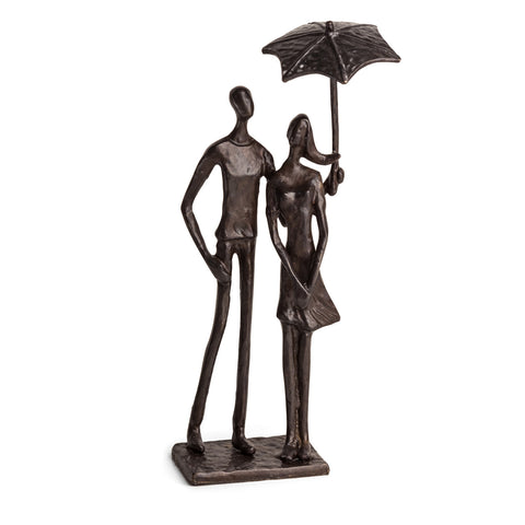 LOVING COUPLE UNDER UMBRELLA BRONZE SCULPTURE
