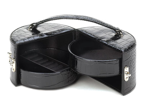 Stylish Black Mirror Travel Jewelry Box