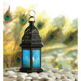 Blue Glass Candle Lantern 8""