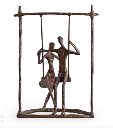 COUPLE ON A SWING CAST BRONZE