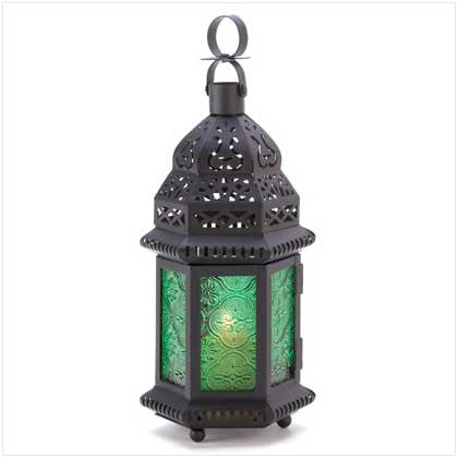 Emerald Green Glass Moroccan Lantern