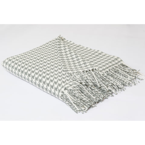 Grey/Cream Houndstooth Merino Wool Throw