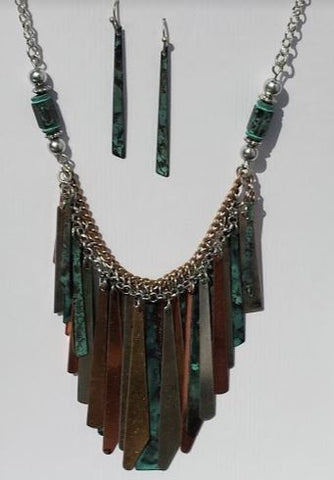 Multi-colored stick Necklace and Earrings set