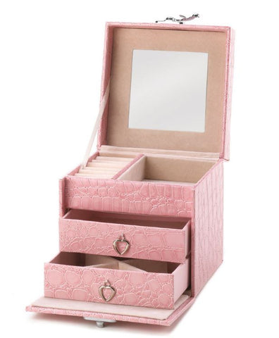 Stylish Pink Mirror Travel Jewelry Box