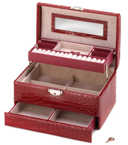 Deluxe Red Travel Jewelry Box