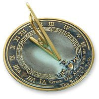 """Grow Old Along With Me"" Brass Sundial, Verdigris, 10"" dia."