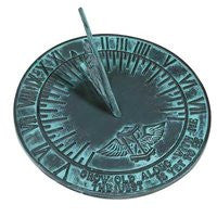 """Grow Old Along with Me"" Rome Cast Iron New Salem Sundial, Verdigris, 9.875"" dia."