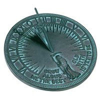 """Grow Old Along with Me"" Rome Cast Iron Father Time Sundial, Verdigris, 11.125"" dia."