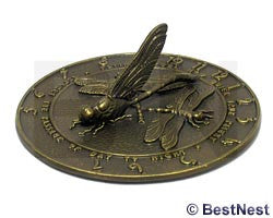 "Whitehall Dragonfly Sundial, French Bronze, 12"" dia."